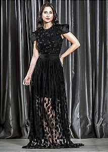 Vestido de Tule Bordado LN Brand - Preto