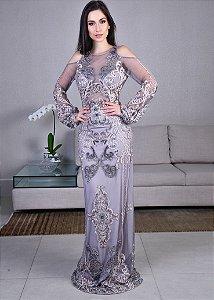 Vestido Longo de Tule Bordado Manga Longa Arte Sacra Coutture - Prata