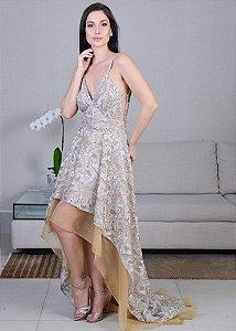 Vestido Longo de Renda e Seda Pura Mullet M.Rodarte - Dourado