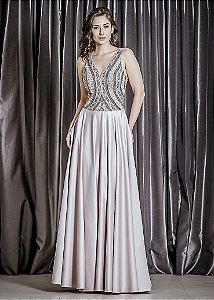 Vestido Longo com Frente de Tule Bordado Arte Sacra Coutture - Nude/Rosa