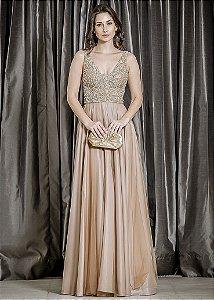 Vestido Longo com Corpete Bordado Ellizabeth Marques - Dourado