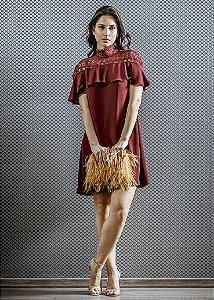 Vestido Curto com Rendas e Babados LN Brand - Marsala