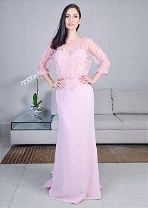 Vestido Longo de Crepe com Tule Bordado Pronovias - Rosa