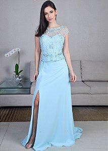 Vestido Longo de Georgette e Tule Pronovias - Azul Claro