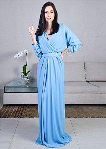 Vestido Longo de Musseline Cosh - Azul Claro