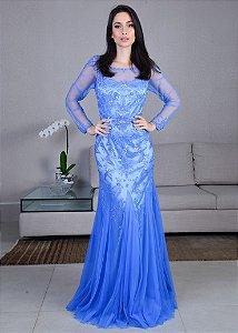 Vestido de tule bordado azul