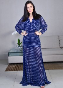 Vestido Longo Estampado de Poá Unity Seven - Azul