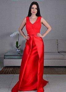 Vestido Longo de Mikado com Pedrarias Pronovias - Vermelho