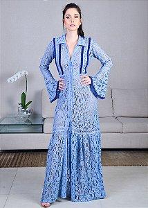 Vestido Longo de Renda UH Premium - Azul