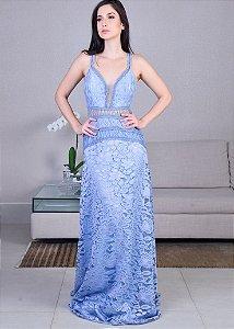 Vestido Longo de Rendas Patchoulee - Azul