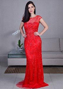 Vestido Longo de Tule Bordado Rosa Clará - Vermelho