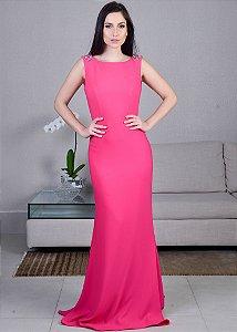 Vestido Longo de Crepe com Pedrarias Pronovias - Rosa Pink