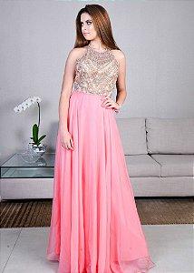 Vestido Longo Bordado Rachel Allan - Rosa Pink
