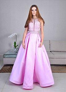 Vestido Longo Bordado Rachel Allan - Rosa