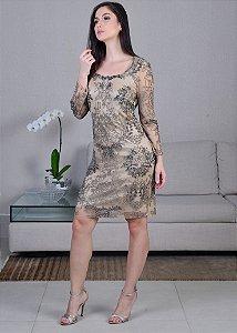 Vestido Curto de Tule Bordado Rosa Clará - Prata e Nude