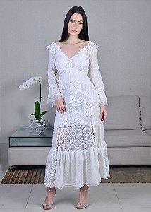 Vestido Midi de Rendas LN Brand - Off White