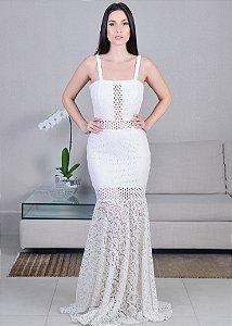 Vestido Longo de Rendas Unity Seven - Branco