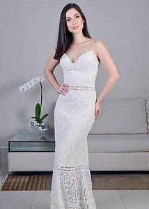 Vestido Longo de Renda Unity Seven - Off White