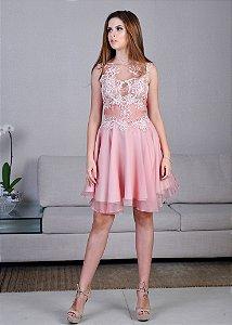Vestido Curto de Tule com Rendas Arte Sacra Coutture - Rosa