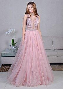 Vestido Longo de Tule Bordado Cosh - Rosa