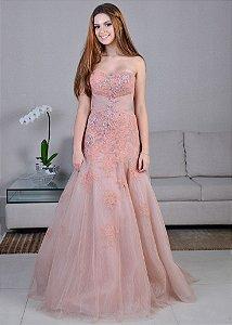 Vestido Longo de Tule com Renda Bordada Pronovias - Rosa