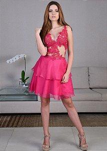 Vestido Curto de Tule com Rendas Arte Sacra Coutture - Rosa Pink