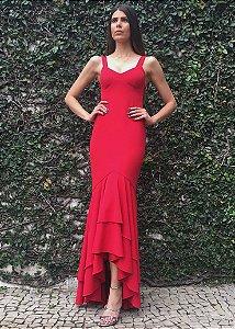 Vestido Longo de Malha com Saia Mullet Unity Seven - Vermelho