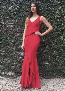 Vestido Longo de Malha com Camadas Unity Seven - Vermelho