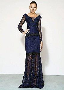 Vestido Longo com Renda Guipir Unity Seven - Azul Marinho