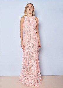 Vestido Longo com Detalhes em Renda Chantilly Unity Seven - Rosa