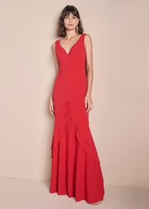 Vestido Longo de Malha Estruturada Unity Seven - Vermelho