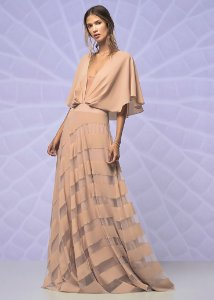 Vestido Longo de Crepe Arte Sacra Coutture - Rosa