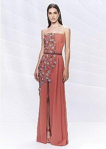 Vestido Longo com Bordados Arte Sacra Coutture - Rosa Outono