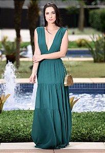 Vestido Longo Chiffon Amissima - Verde