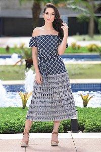 Vestido Midi Lese Ombro a Ombro Amissima - Azul