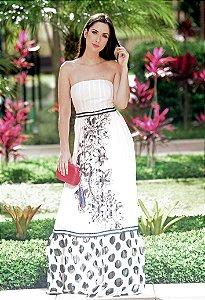 Vestido Longo de Seda UH Premium - Estampado Rosa