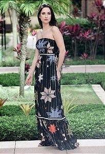 Vestido Longo de Seda UH Premium - Preto Estampado