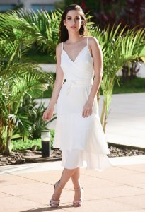 Vestido Midi de Crepe Amissima - Off White
