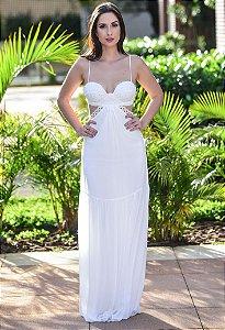 Vestido Longo Com Recortes Arte Sacra Coutture - Off White