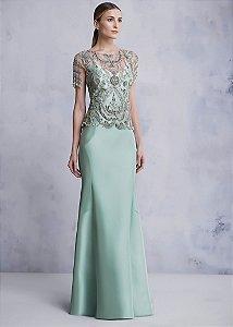 Vestido Longo com Pelerine Bordada Kalandra - Verde