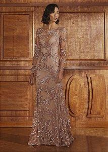 Vestido Longo Bordado Pétalas Agilità - Rosa Blush