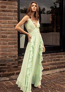 Vestido Longo Babado PatBo - Verde
