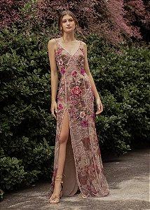 Vestido Longo Bordado Patrícia Bonaldi - Rosa