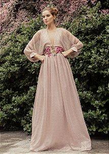 Vestido Longo Plissado Patrícia Bonaldi - Rosa/Vinho
