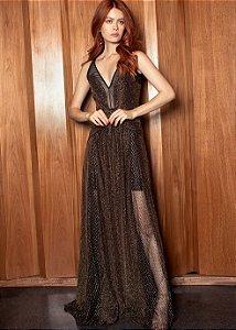 Vestido Longo Lurex PatBo - Dourado e Preto