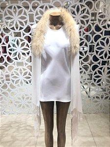 Pashmina com Pele de Raposa La Vita - Off White