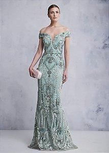 Vestido Longo com Bordado Kalandra - Verde