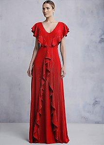 Vestido Longo Crepe Kalandra - Vermelho