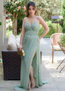 Vestido Longo de Chiffon de Seda La Vita - Verde