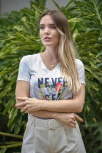 T-shirt Never Get Lost - Estampada